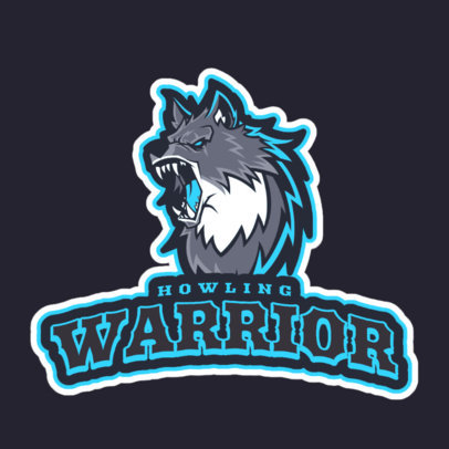 Logo Template for a Gaming Squad Featuring an Angry Howling Wolf 2695j 2684