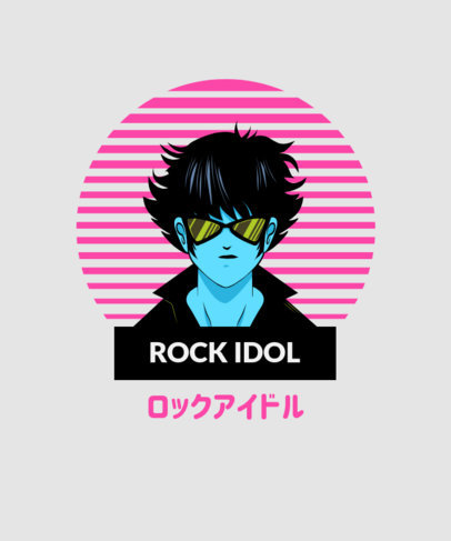 Retro T-Shirt Design Template Featuring a Rock and Roll Character 1957d