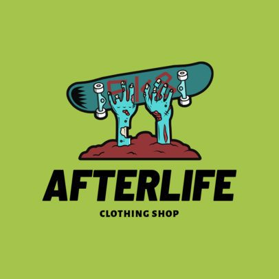 Logo Maker for Clothing Brand Shops with a Zombie Skater Clipart 2598c