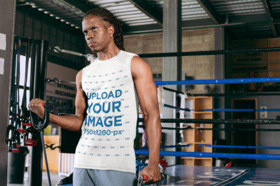 Tank Top Mockup of a Man Exercising at a Boxing Gym 30162