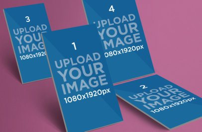 Mockup Featuring Four iOS Screens Against a Customizable Background 1063-el