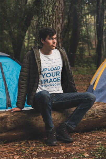T-Shirt Mockup of a Young Man Camping in the Woods 30483