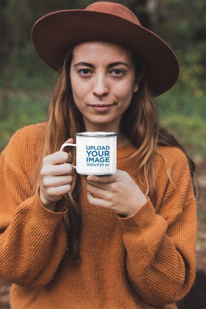 Mockup of a Woman in Nature Holding a 12 oz Enamel Mug 30465