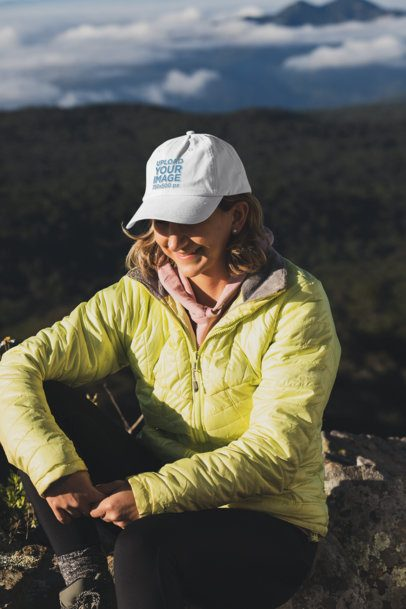 Dad Hat Mockup of a Woman on a Hike 30471