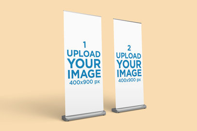 Mockup of Two Vertical Banners Against a Solid Surface 916-el