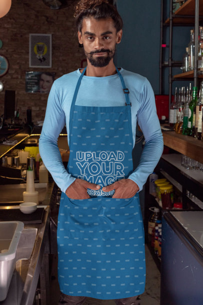 Apron Mockup of a Bartender on a Drinks Bar 30300