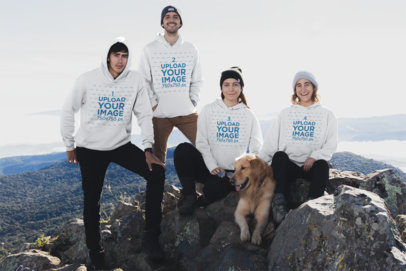 Pullover Hoodie Mockup Featuring a Group of Friends at a Mountain Peak 30493