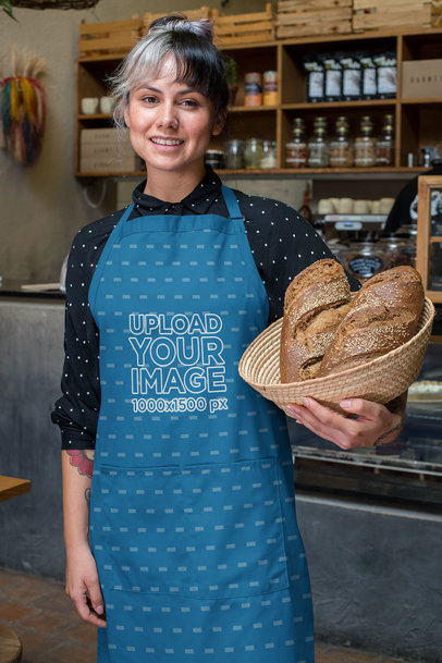 Apron Mockup of a Woman Holding a Basket of Bread