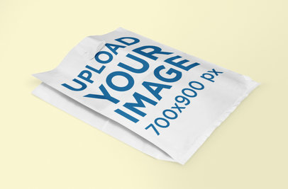 Mockup of a Plastic Bag Lying on a Colored Surface 1094-el