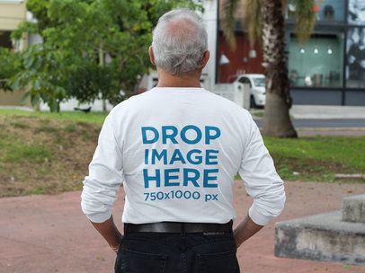Back of an Elderly Man Wearing a Long Sleeve Tee Mockup at a Park a10940b