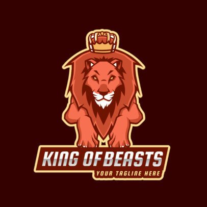Logo Template for a Gaming Team Featuring a Crowned Lion 2704b
