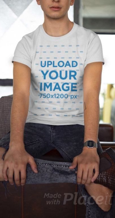 Cropped Face Stop Motion Video of a Man with a Customizable T-Shirt 22466