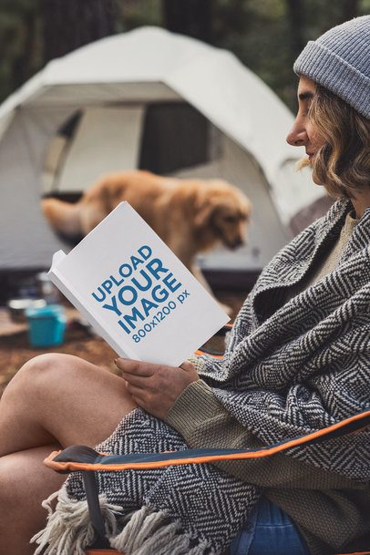 Book Mockup of a Young Woman Camping with Her Dog 30507