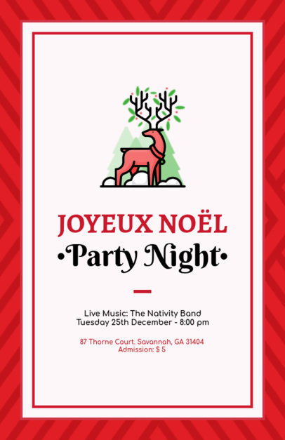 Online Flyer Maker for a Christmas Party Featuring a Reindeer Illustration