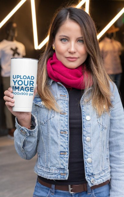 30 oz Travel Mug Mockup Featuring a Stylish Woman 30421