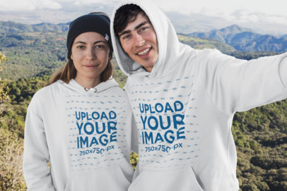 Hoodie Mockup Featuring Two Friends at the Mountains 30492