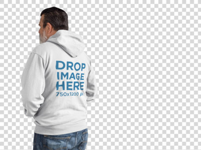 Back of a Middle Aged Man Wearing a Full Zip Hoodie Mockup Facing a Transparent Surface a11309b