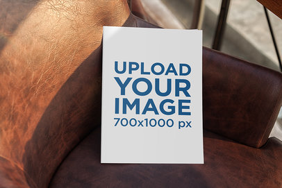 Mockup of a Magazine Placed on a Leather Chair 1142-el