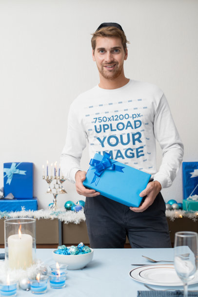 Long Sleeve Tee Mockup of a Man Holding a Present at a Hanukkah Celebration 30639