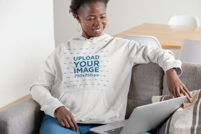 Mockup of a Short-Haired Woman with a Hoodie Working at Home 30337