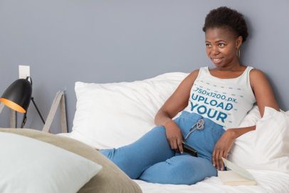 Tank Top Mockup Featuring a Woman Resting in Her Bedroom 30340