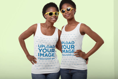 Mockup of a Mother and Daughter Wearing Tank Tops at a Studio 30619