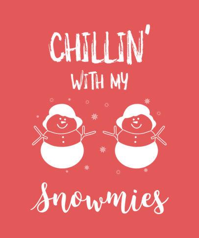 Cute Xmas T-Shirt Design Maker Featuring Two Illustrated Snowmen 31-el