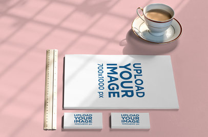Stationery Mockup Featuring a Letterhead and Two Business Card Packs 1030-el