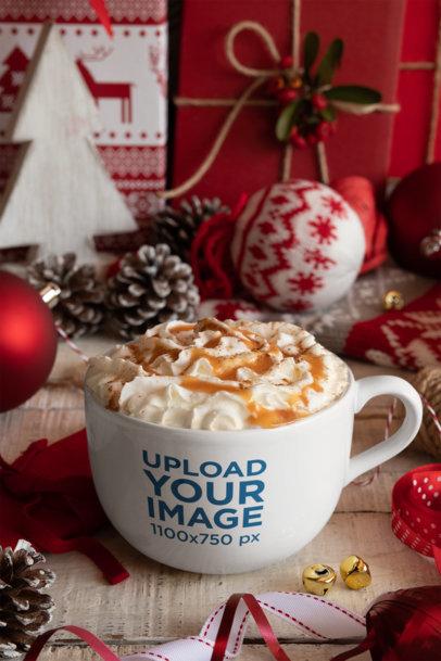 Mockup of a 24 oz Coffee Mug Placed on a Christmas-Decorated Setting 30648