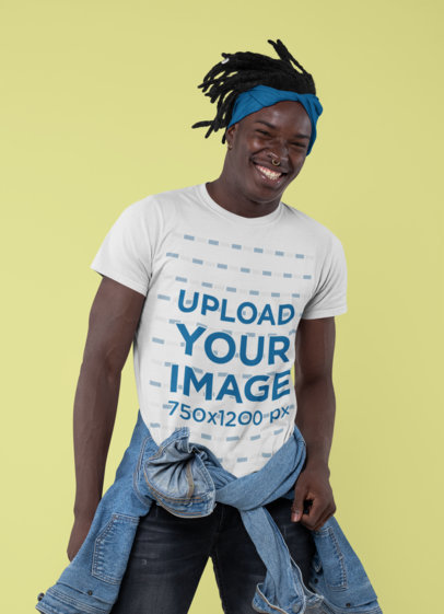 Crew Neck T-Shirt Mockup of a Joyful Man Posing at a Studio 30544