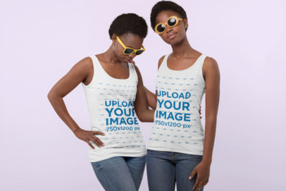 Tank Top Mockup Featuring a Mother and Daughter Wearing Sunglasses at a Studio 30620