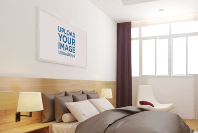 Mockup of a Decorative Art Print Hanged in a Bedroom
