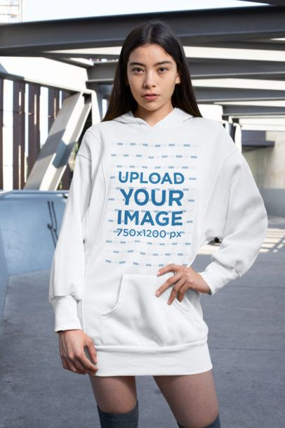 Mockup of a Stylish Woman Wearing a Hoodie Dress 30510