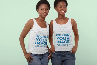 Mockup of a Woman and Her Mother Wearing Tank Tops at a Studio 30621
