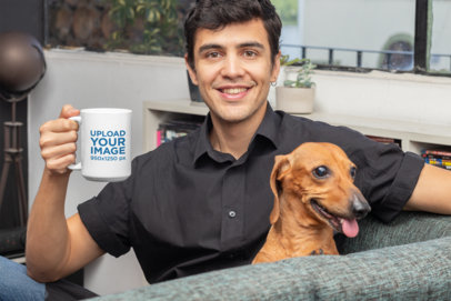 15 oz Mug Mockup of a Man Sitting with His Dog 30678