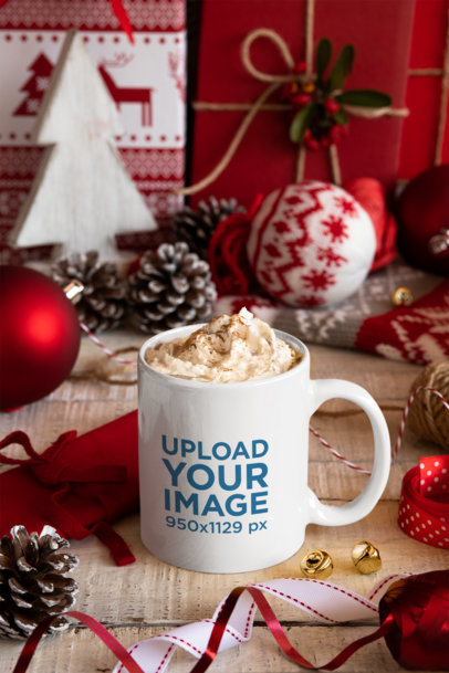 Mockup of an 11 Oz Coffee Mug Surrounded by Xmas Decorations 30649