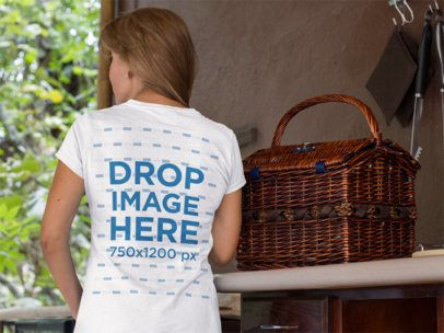 Elder Lady Wearing a Round Neck Tee Mockup from the Back a11374b