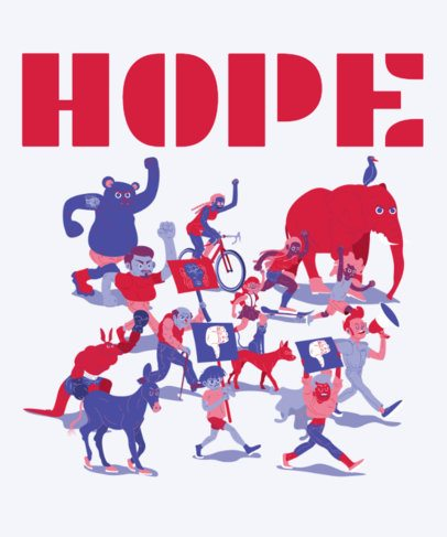 Elections T-Shirt Design Maker Featuring an Illustration of Marching People 1991d