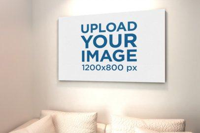 Mockup of a Horizontal Art Print in a Pearl-Color Living Room 834-el