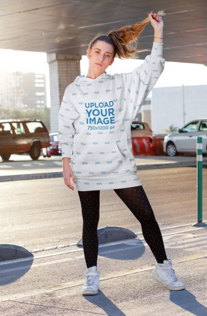 Sublimated Hooded Dress Mockup Featuring a Woman Touching Her Hair 30570