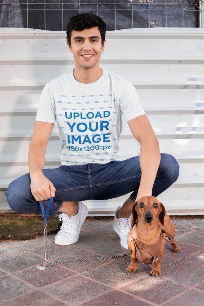 T-Shirt Mockup of a Man Posing with His Dog 30684