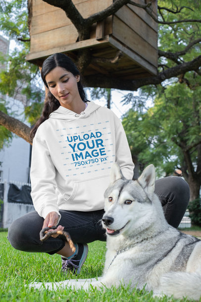 Pullover Hoodie Mockup Featuring a Young Woman with a Dog at Her Backyard 30666