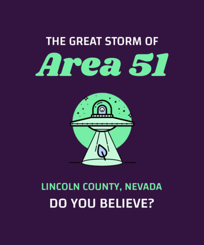 Area 51 T-Shirt Design Generator with UFO Illustrations 6b-el