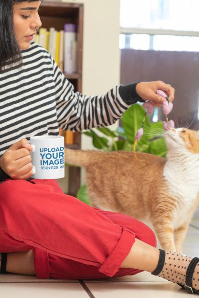11 oz Mug Mockup of a Woman Playing with Her Cat  at Home 30667