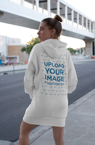 Back View Mockup of a Woman in a Hoodie Dress 30579