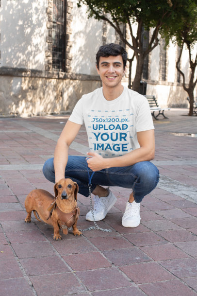 T-Shirt Mockup of a Man Taking His Dog for a Walk