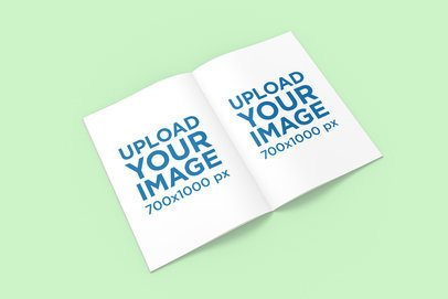 Open A4 Magazine Mockup Featuring a Colored Backdrop 1272-el