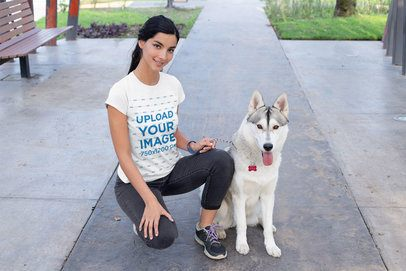 T-Shirt Mockup of a Woman Posing Next to Her Dog 30654