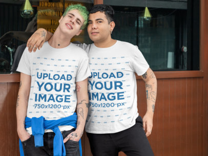 Mockup of an LGBT Couple Wearing T-Shirts 30433