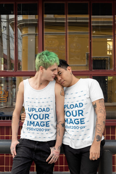 Mockup of an LGBT Couple With a Tank Top and a T-Shirt in Front of a Restaurant 30435